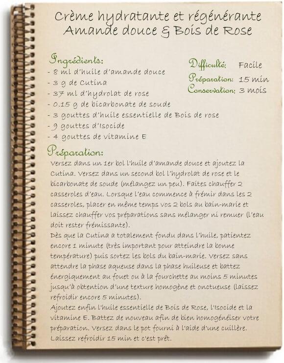 Crème hydratante et régénérante maison: amande douce et bois de rose