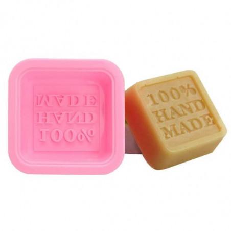 Petit moule à savon carré  « Hand Made » en silicone