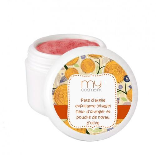 Pâte d'argile exfoliante fleur d'oranger et poudre de noyau d'olive