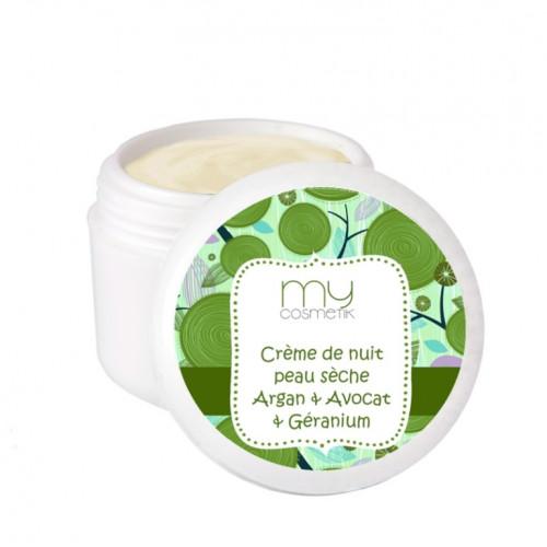 Crème de nuit peau sèche argan, avocat & géranium