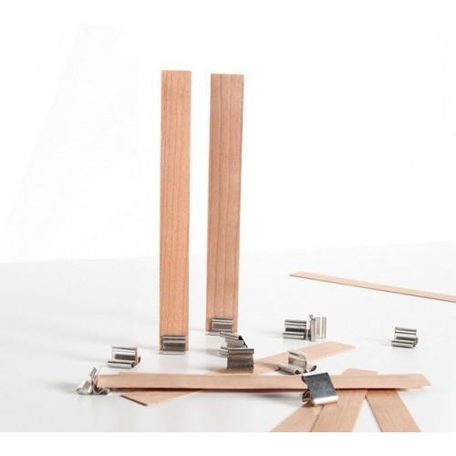2 mèches à bougie en bois (16 mm) + 2 clips