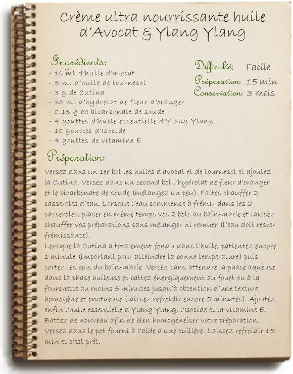 Crème de nuit nourrissante maison: recette à l'huile d'avocat et ylang