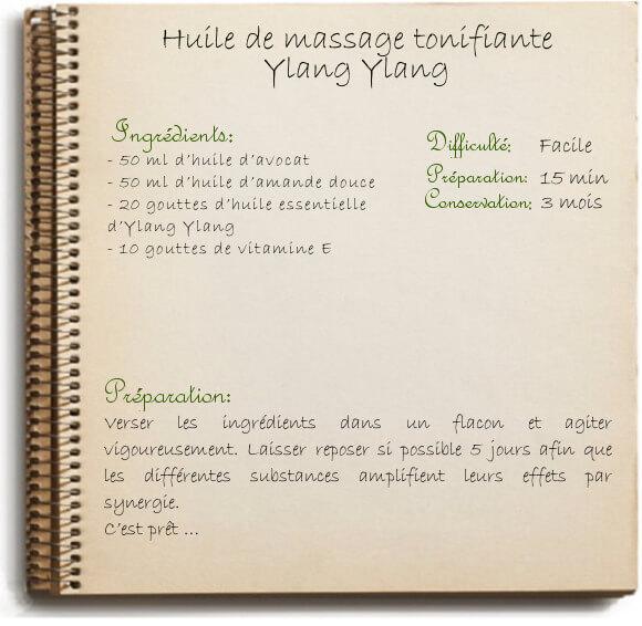 Recette maison d'huile de massage tonifiante: amande douce et ylang